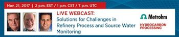 Metrohm USA and SUEZ Water Technologies to Present Refinery Process and Source Water Monitoring Webinar